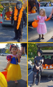 Photos of children and staff dressed in halloween costumes trunk-or-treating.